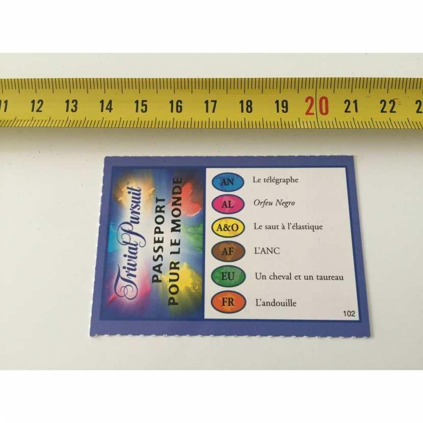carte question numéro 102 pièce détachée du jeu de société trivial pursuit édition passeport pour le monde
