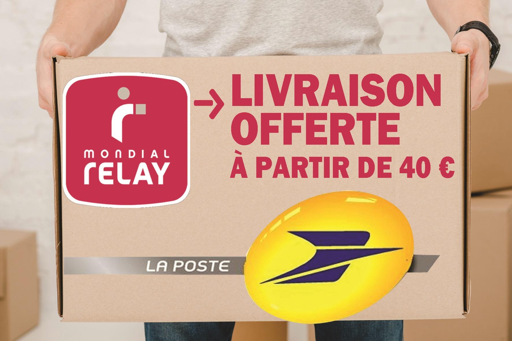 Livraison gratuite pour 40 euros d'achats sur tout notre site internet