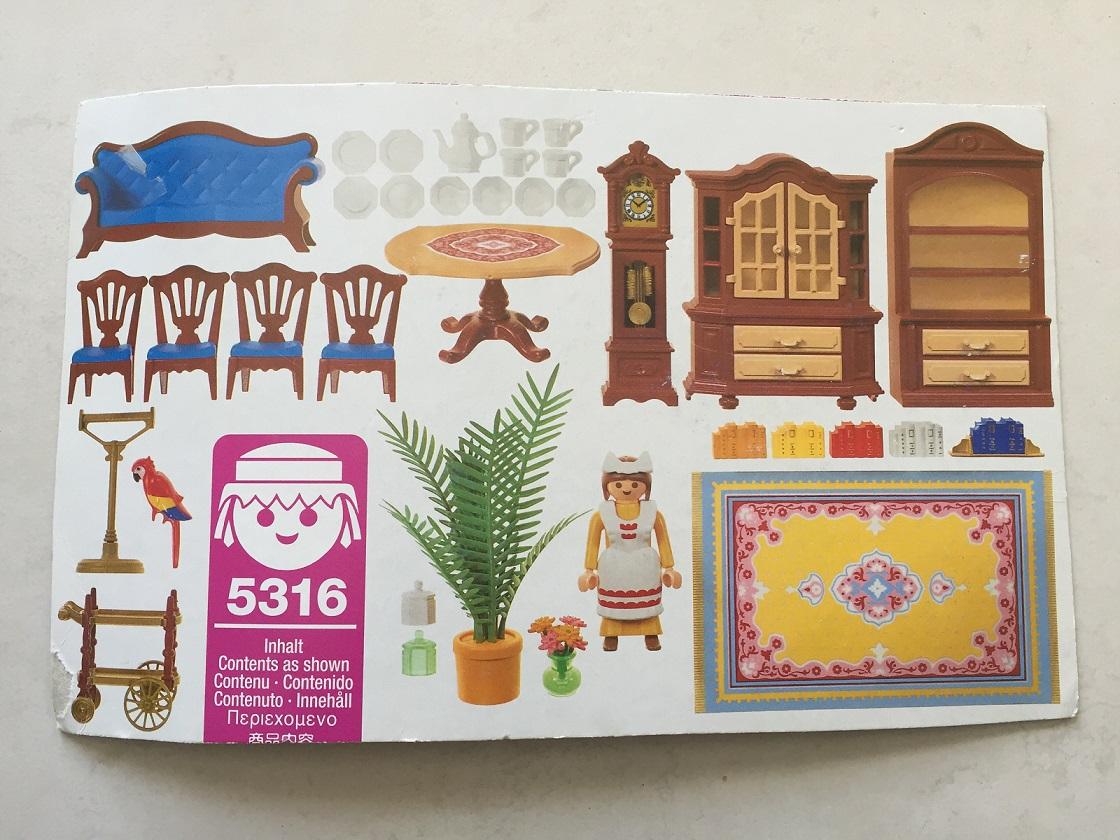pièce détachée Playmobil 5316 salon bleu maison victorienne