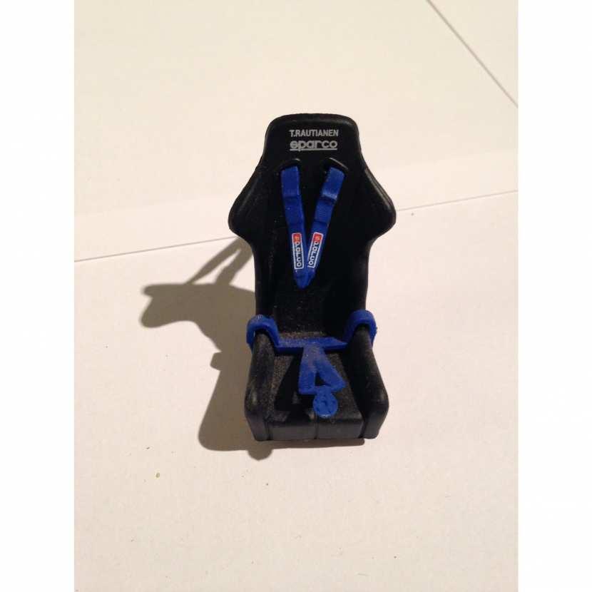 Siège baquet pièce détachée pour voiture de collection, maquette, modèle réduit Peugeot 206 WRC Rally 2002 de marque Solido de taille 1/18ème